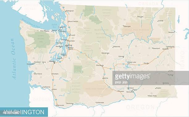 washington state map - illustration - washington state stock illustrations