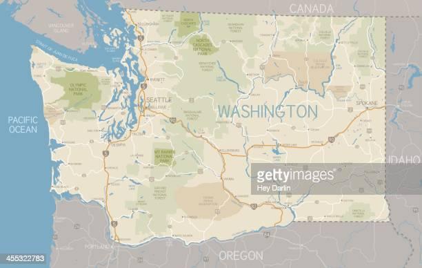 washington state map - washington state stock illustrations