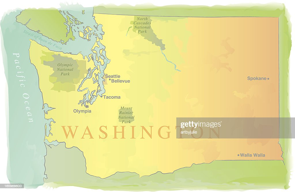 Washington State Map Watercolor Style stock vector | Getty Images
