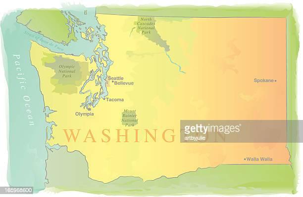 Washington State Map - Watercolor Style