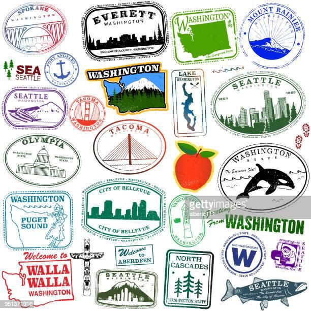 washington state travel graphics - washington state stock illustrations