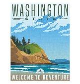 Washington State travel poster. Vector illustration of rugged shoreline and lighthouse