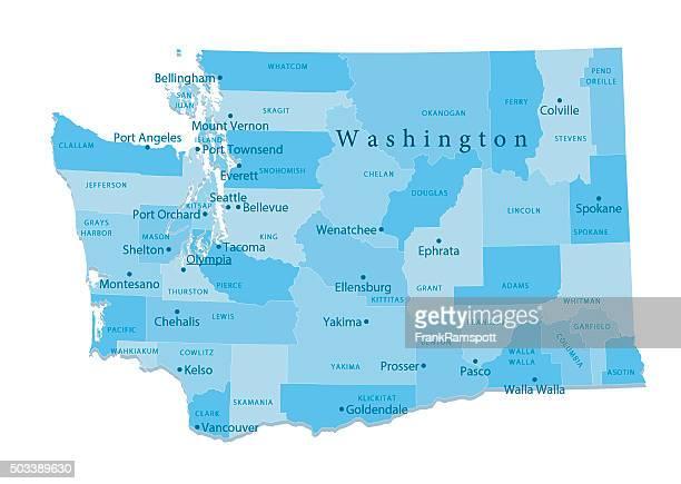 ilustrações de stock, clip art, desenhos animados e ícones de vetor mapa isolado estado de washington - washington state