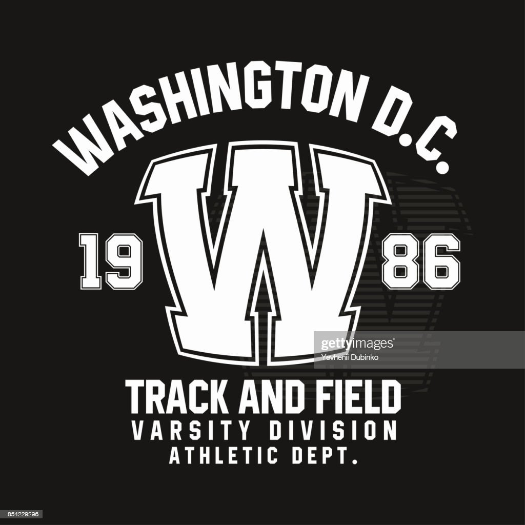 Washington typography for t-shirt print. Track and field, athletic t-shirt graphics