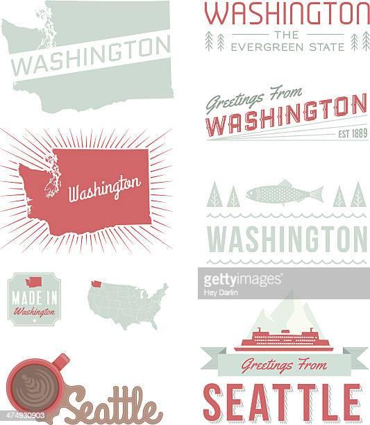 washington typography - washington state stock illustrations