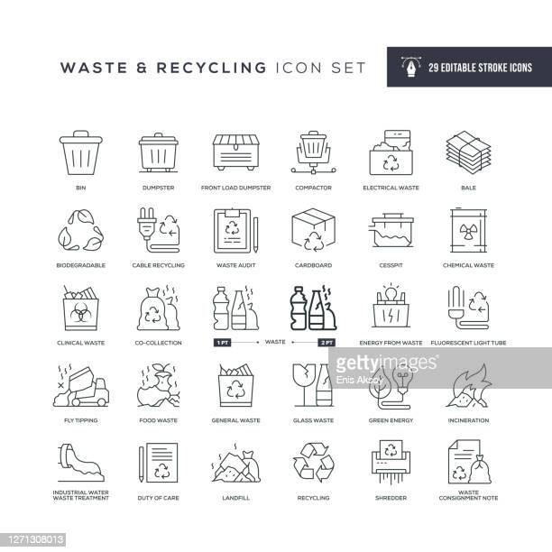 waste and recycling editable stroke line icons - garbage dump stock illustrations