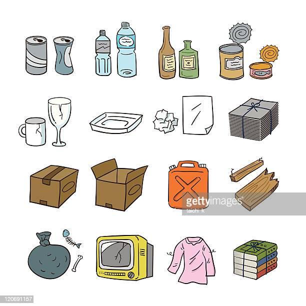 waste articles - ceramics stock illustrations, clip art, cartoons, & icons