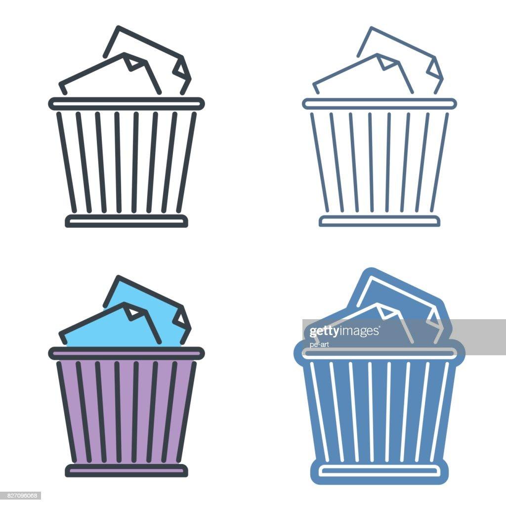 Waste basket vector outline icon set. Trash bin line symbols.