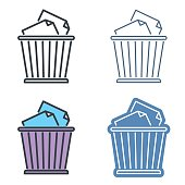 Waste basket vector outline icon set. Trash bin line symbols.