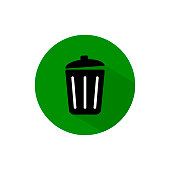 waste bin icon long shadow vector