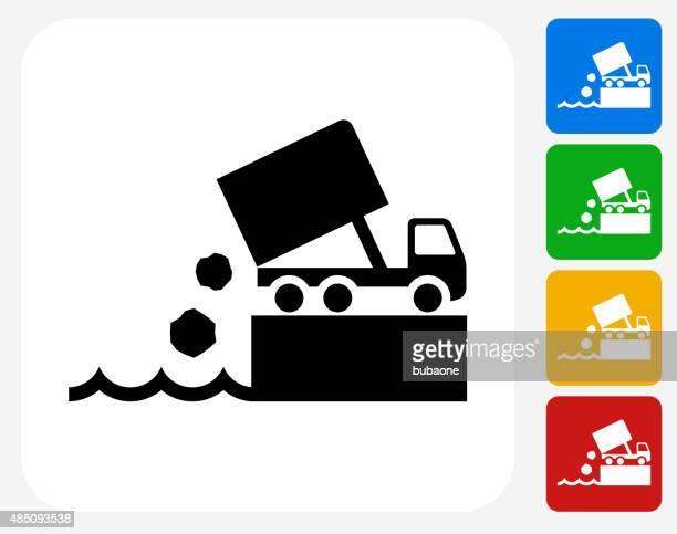 ilustrações de stock, clip art, desenhos animados e ícones de dump de ícone plano de design gráfico - gari