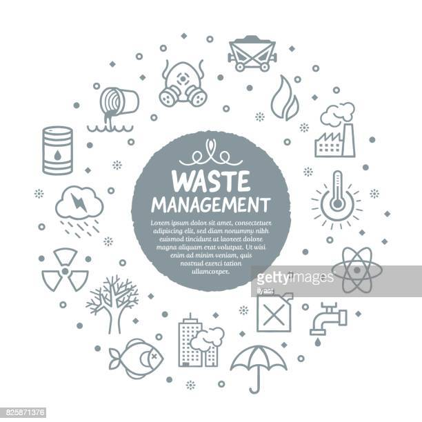 waste management services poster - water pollution stock illustrations