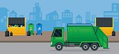 Waste or Garbage Truck and Dumpster