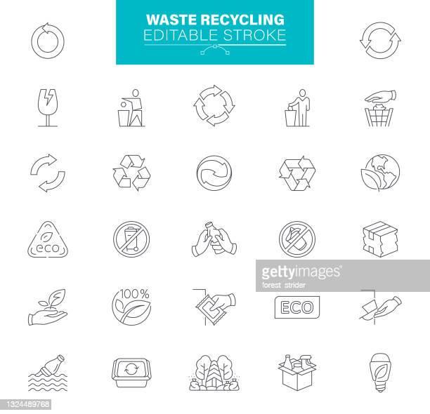 waste recycling icons editable stroke - biohazardous substance stock illustrations