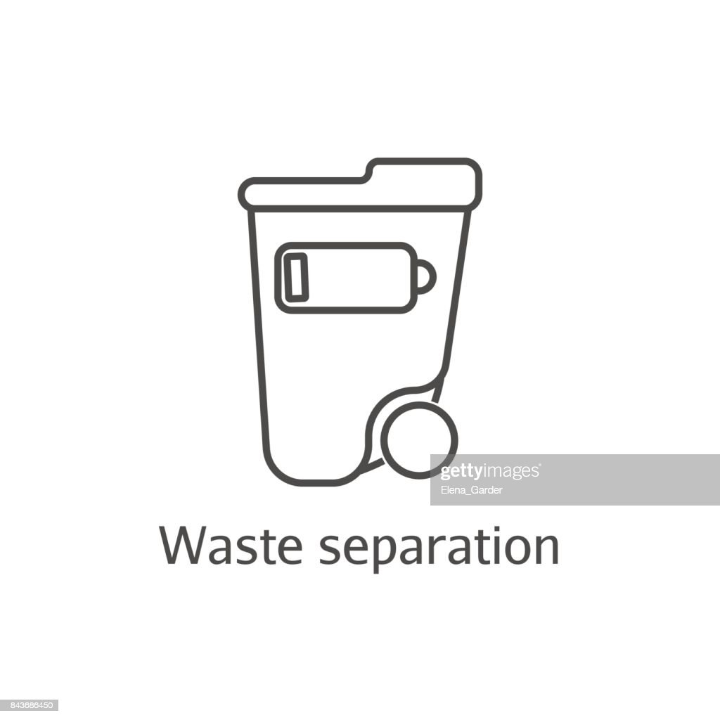 Waste separation thin line icon. Ecology and environmental protection concept. Eco dustbin for low battery sign.