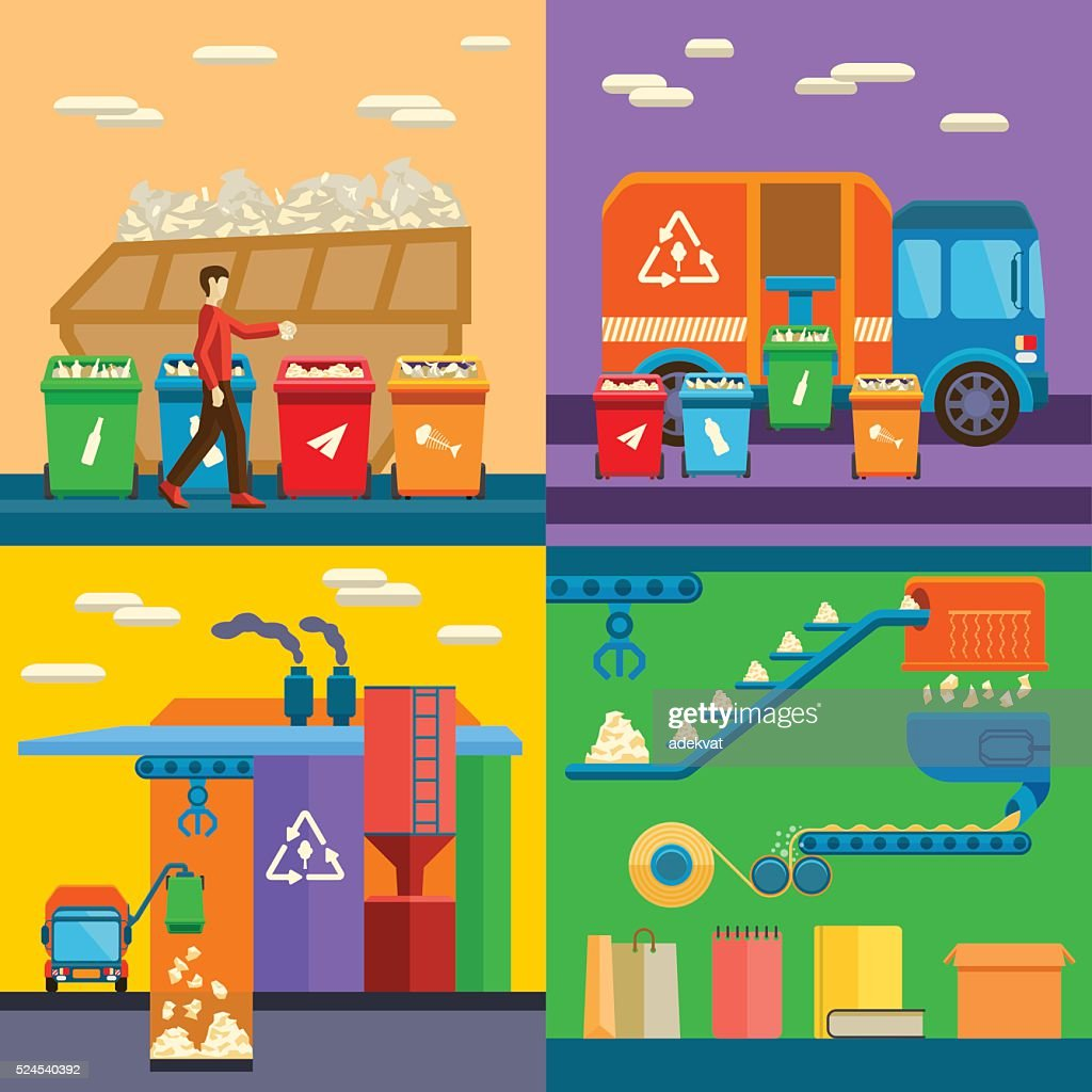 Waste sorting garbage recycling environment flat style vector illustration