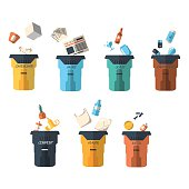 Waste sorting of garbage types set vector.