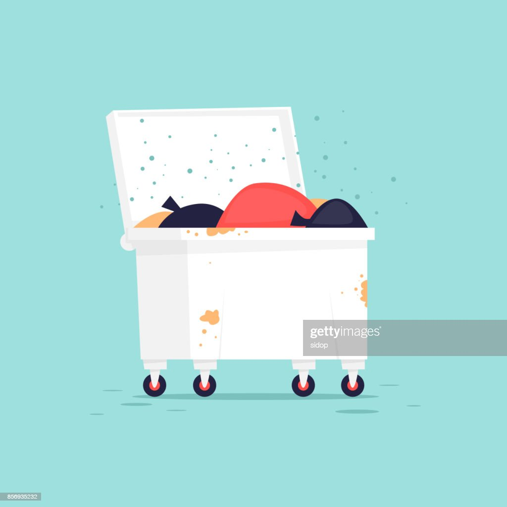 Wastebasket. Flat vector illustration in cartoon style.