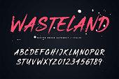 Wasteland vector brush style font, alphabet, typeface