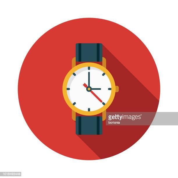 ilustrações, clipart, desenhos animados e ícones de ícone de relógio design plano suíça - relógio de pulso