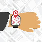 Watch GPS mark on the map background.