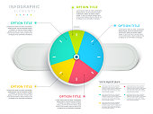 Watch or wristwatch 3 step business process pie chart infographics. Clock corporate workflow circle graph elements. Company flowchart diagram presentation slide template. Vector info graphic design.