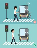 watch your step.men on the crosswalk
