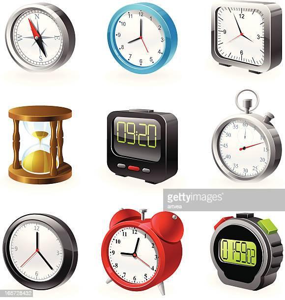 ilustrações, clipart, desenhos animados e ícones de relógios conjunto de ícones - cronômetro