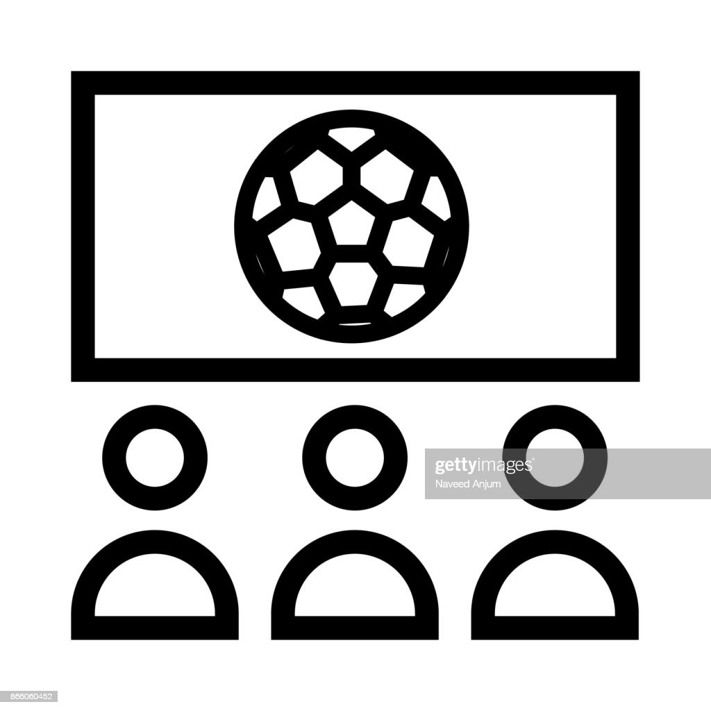 Watching Football Match Thin Line Vector Icon Vector Art Getty Images