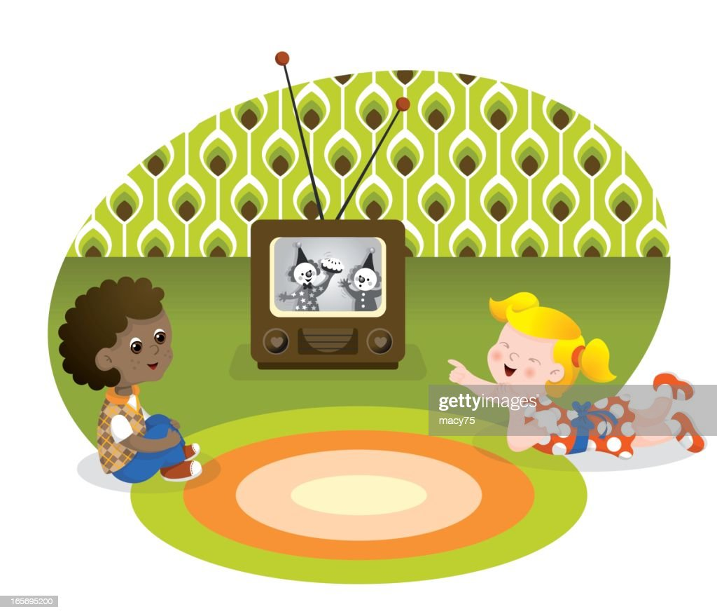 Watching retro television kids