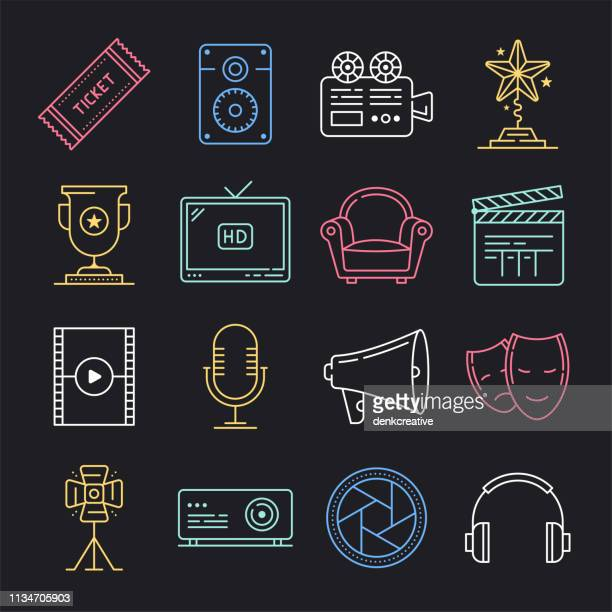 watching television shows neon style vector icon set - film director stock illustrations