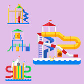 Water aquapark playground with slides and splash pads for family fun vector illustration