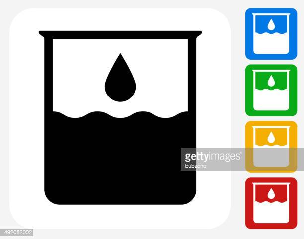 water beaker icon flat graphic design - volume fluid capacity stock illustrations