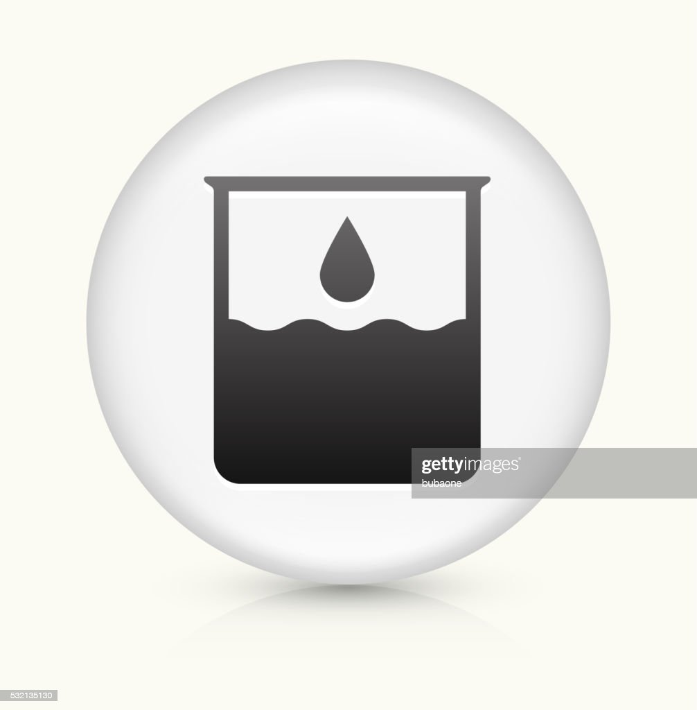 Water Beaker icon on white round vector button : Stock Illustration