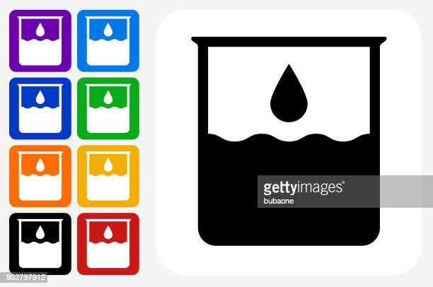 Water Beaker Icon Square Button Set
