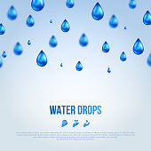 Water Blue Drops. Vector illustration.