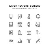 Water boiler, thermostat, electric gas solar heaters and other house heating appliances line icons. Thin linear pictogram. Equipment store signs. Pixel perfect 64x64