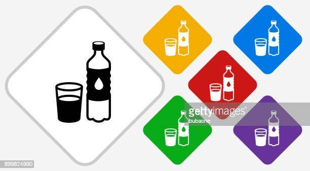 water bottle and glass color diamond vector icon - water bottle stock illustrations, clip art, cartoons, & icons