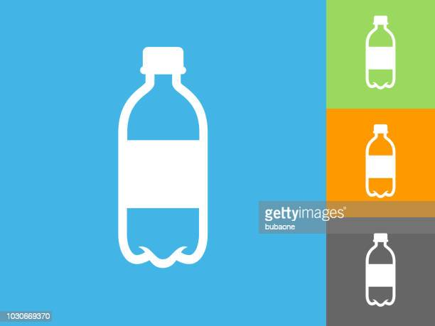 water bottle  flat icon on blue background - water bottle stock illustrations, clip art, cartoons, & icons