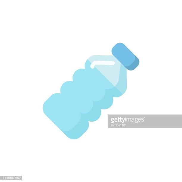 ilustraciones, imágenes clip art, dibujos animados e iconos de stock de botella de agua icono plano. pixel perfect. para móvil y web. - botella
