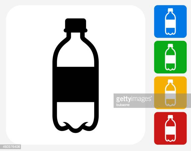 stockillustraties, clipart, cartoons en iconen met water bottle icon flat graphic design - fles