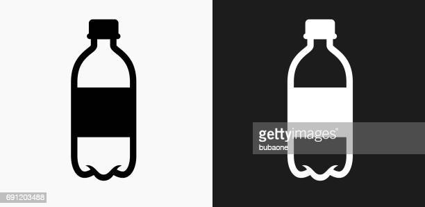 water bottle icon on black and white vector backgrounds - water bottle stock illustrations, clip art, cartoons, & icons