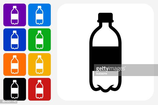 water bottle icon square button set - water bottle stock illustrations, clip art, cartoons, & icons