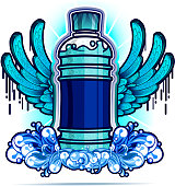 Water bottle with blue wings