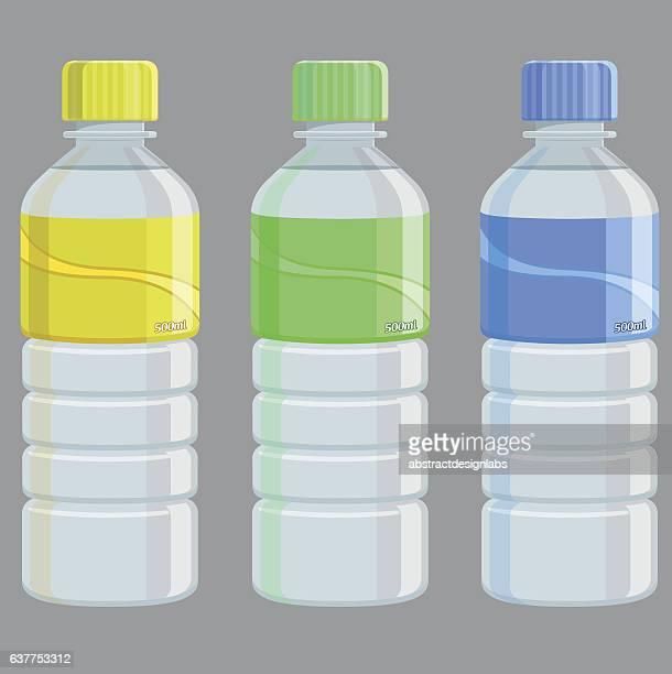 water bottles - illustration - plastic stock illustrations