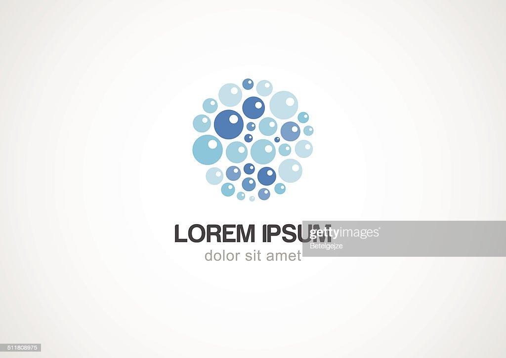 Water bubbles logo template. Vector icon