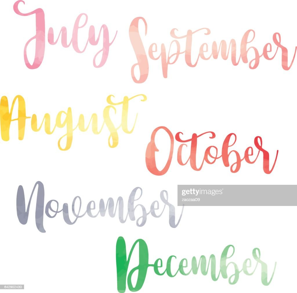 Water Color Brush Handwritten Hand Lettering Names Of Months Vector