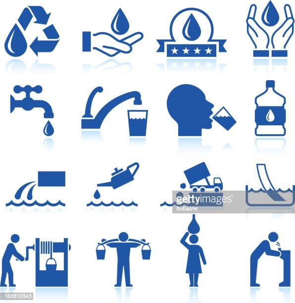 Water conservation royalty free vector icon set