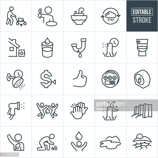 water conservation thin line icons - editable stroke - sprinkler stock illustrations