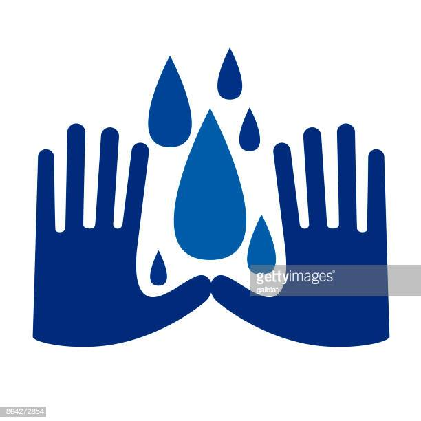 water conservation - washing hands stock illustrations
